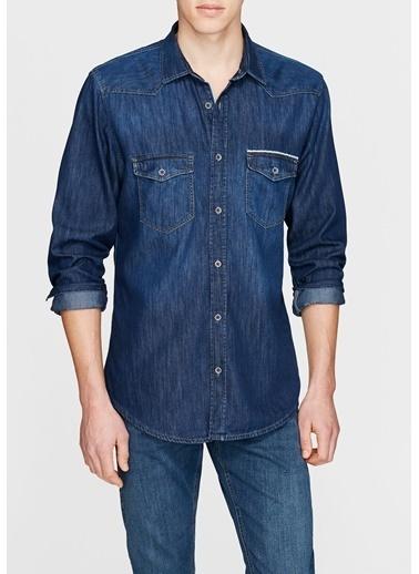 Jean Gömlek | Andy - Yarı Dar Kesim-Mavi